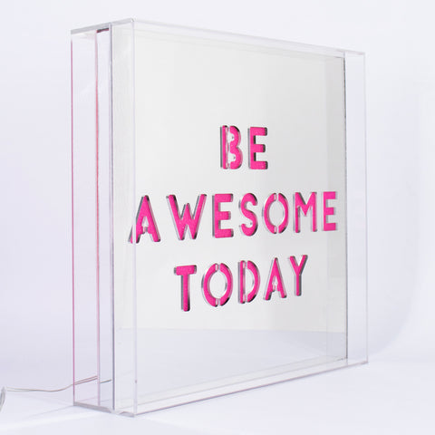 'Be Awesome Today' Square LED Acrylic Box