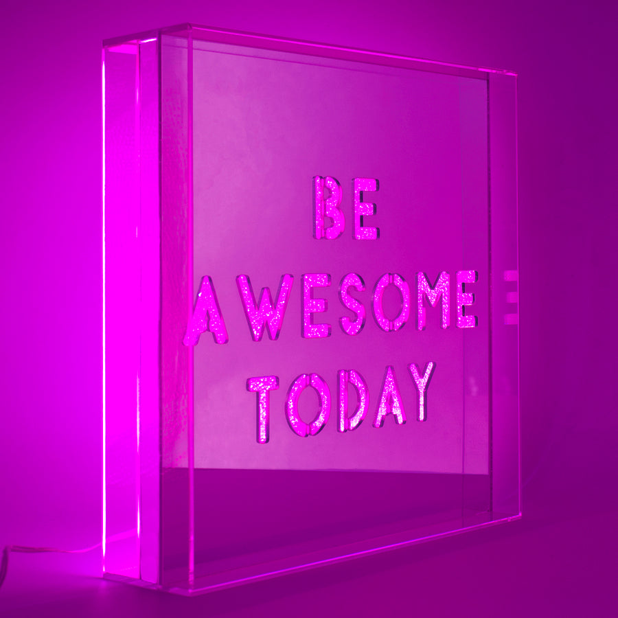 Pink 'Be Awesome Today' Large Square Acrylic Box LED - Locomocean