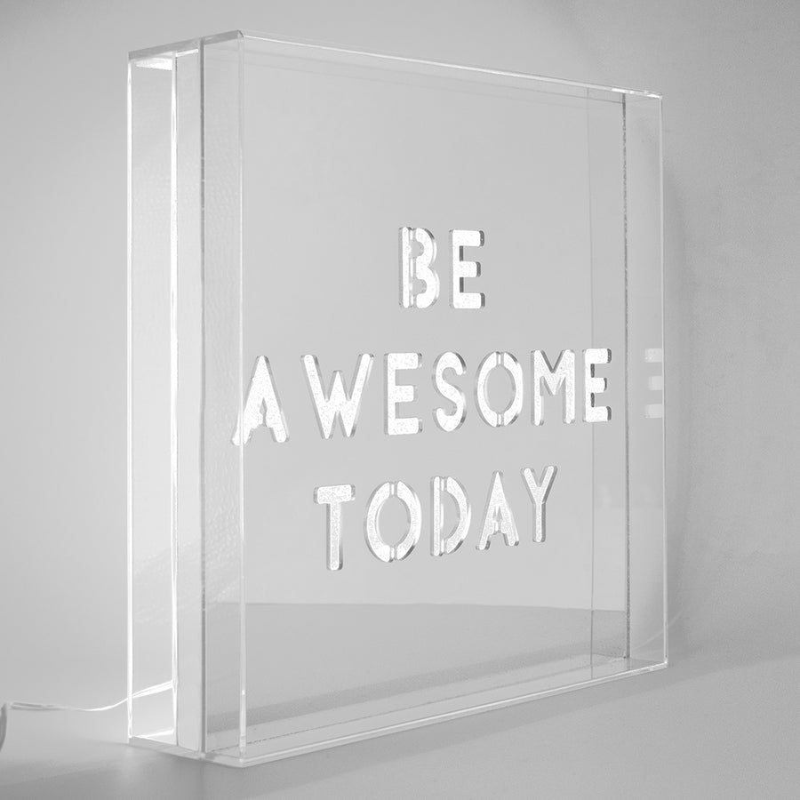 White 'Be Awesome Today' Large Square Acrylic Box LED - Locomocean