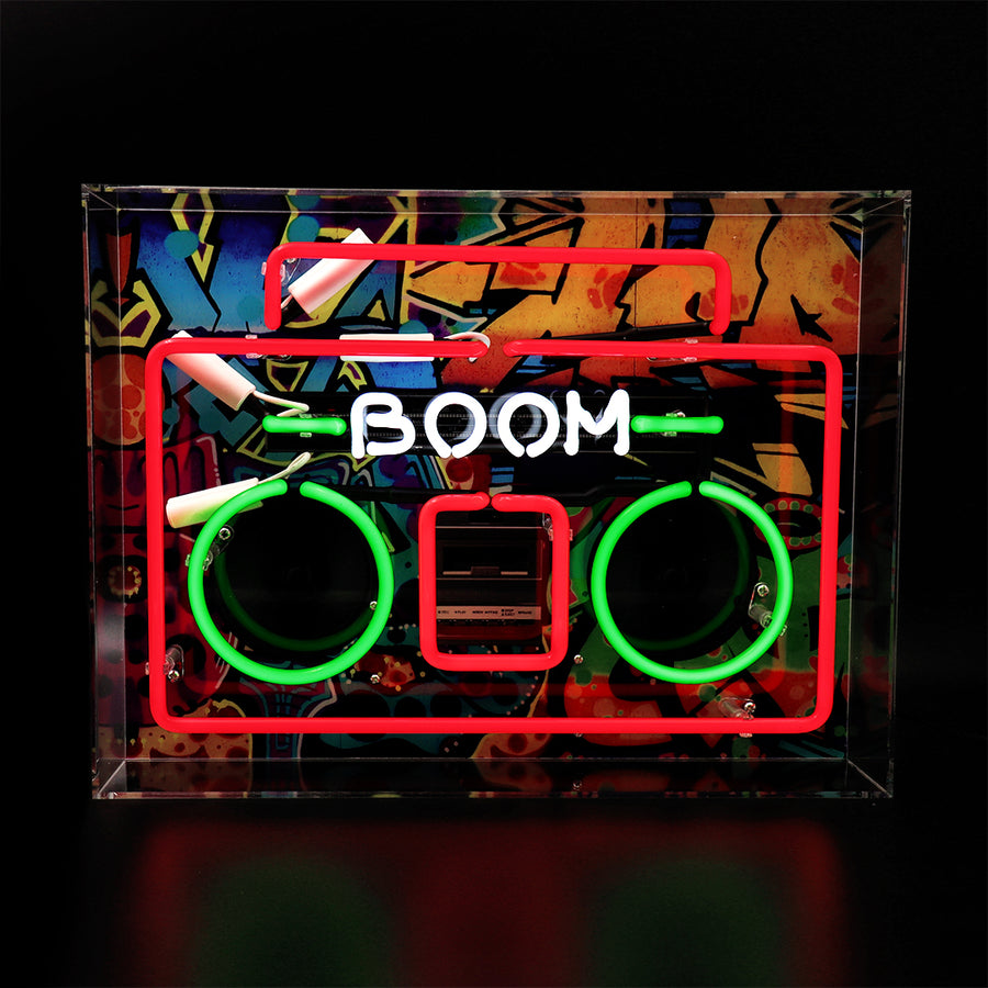 'Boom Box' Large Acrylic Box Neon Light with Graphic - Locomocean