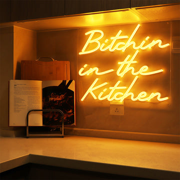 'Bitchin in the Kitchen' Orange Neon LED Wall Mounted Sign