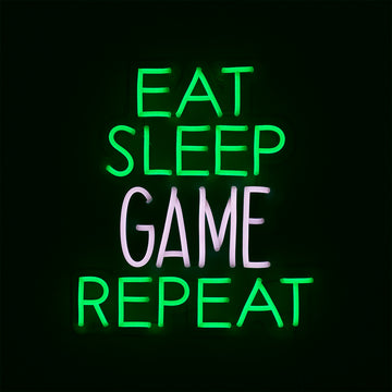 'Eat Sleep Game Repeat' Green & White Neon LED Wall Mountable Sign