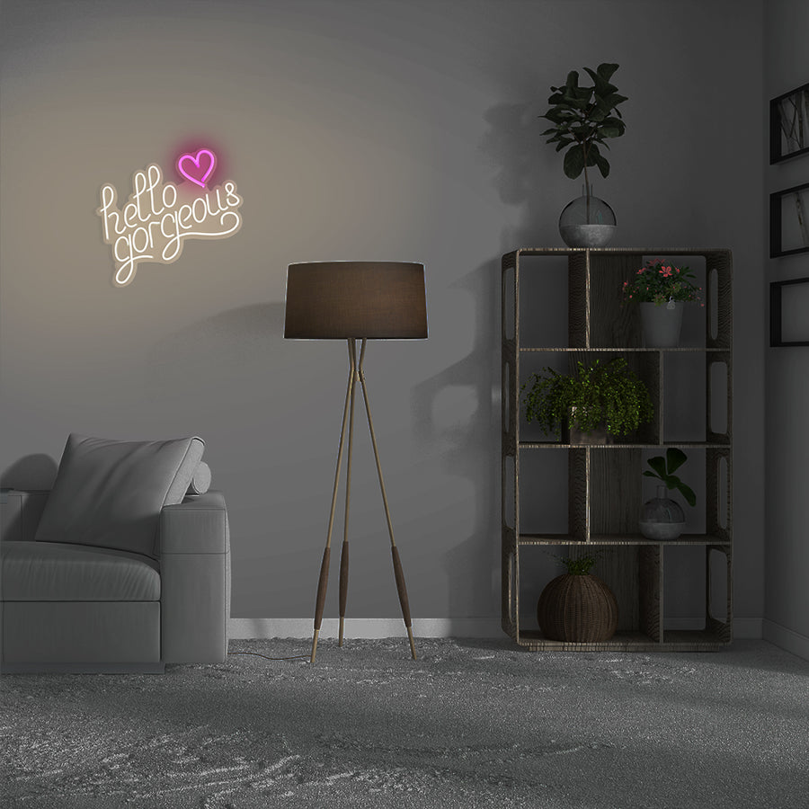 'Hello Gorgeous'  Warm White Neon LED Wall Mountable LED