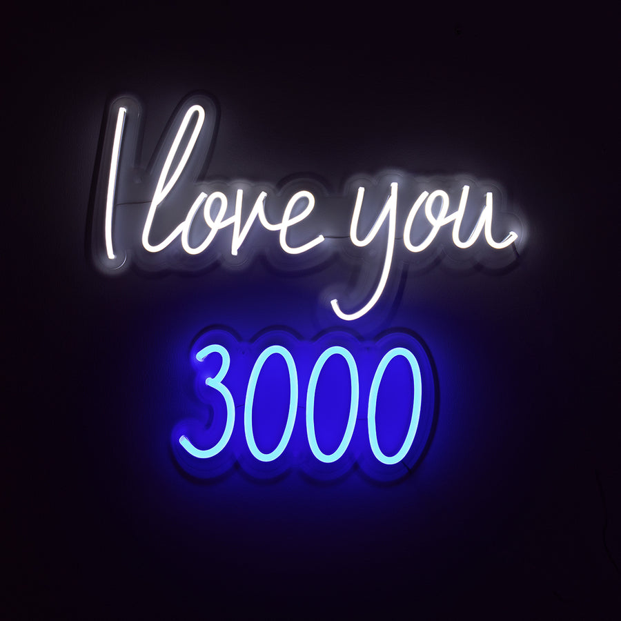 'I Love You 3000' White & Blue Neon LED Wall Mountable Sign