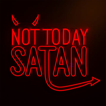 'Not Today Satan' Red Neon LED Wall Mountable Sign