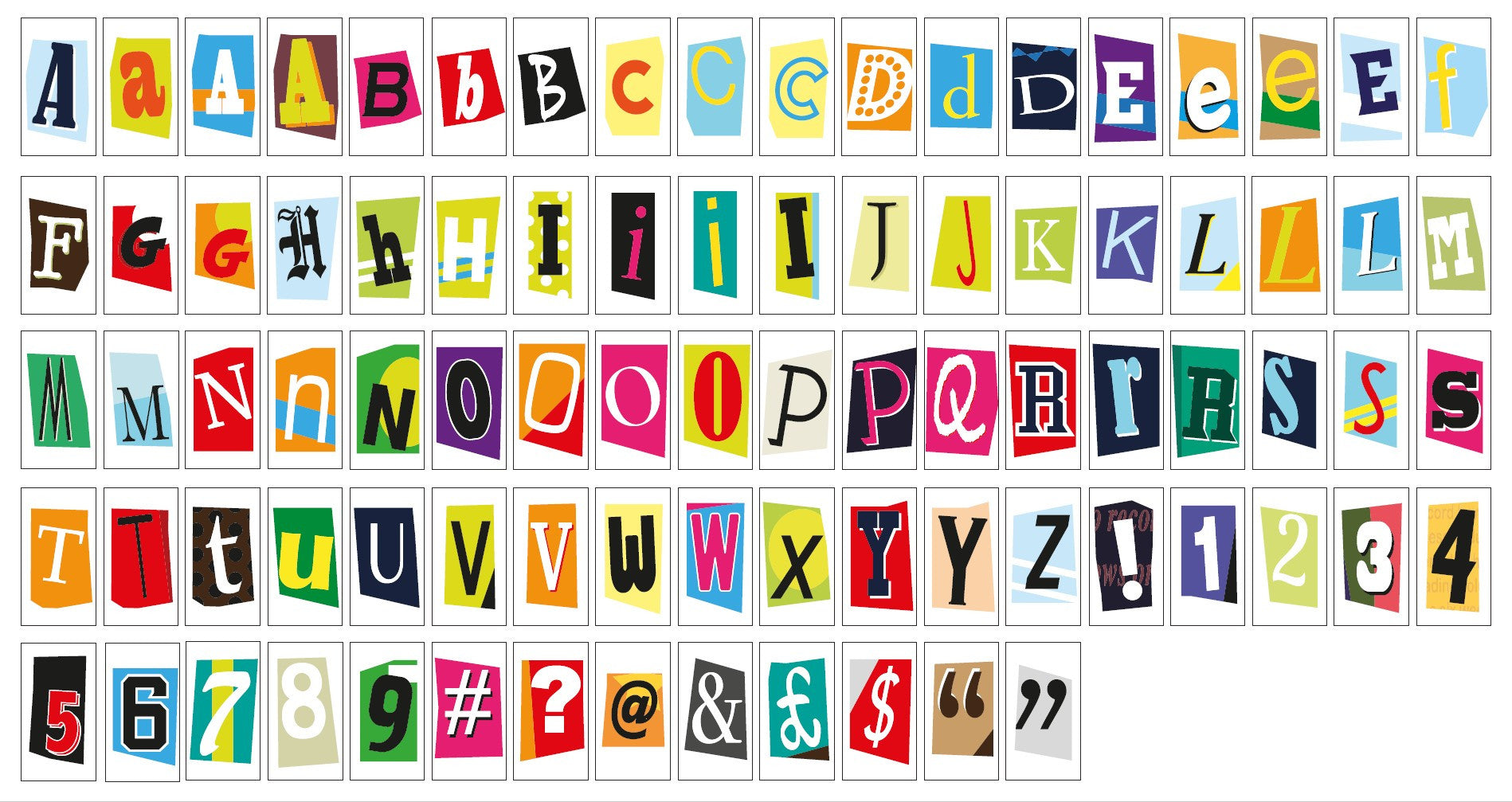 Ransom Style Colourful Extra Letters Symbols Pack Locomocean