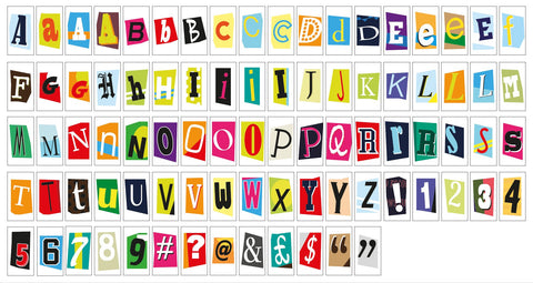 Ransom Style Colourful Extra Letters & Symbols For A4 Lightbox