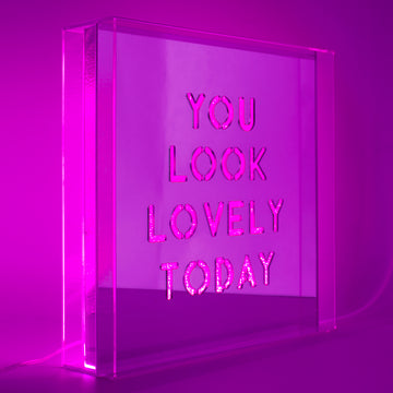 Pink 'You Look Lovely Today' Large Square Acrylic Box LED - Locomocean Ltd