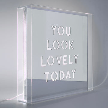 White 'You Look Lovely Today' Large Square Acrylic Box LED - Locomocean