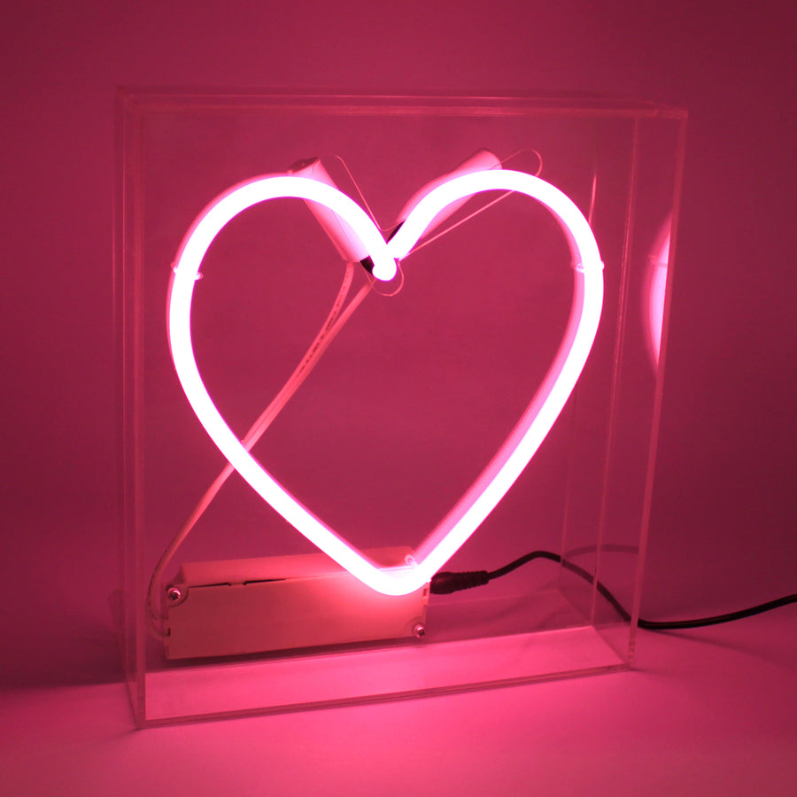 Acrylic Box Neon Light - Heart - Pink - Locomocean Ltd