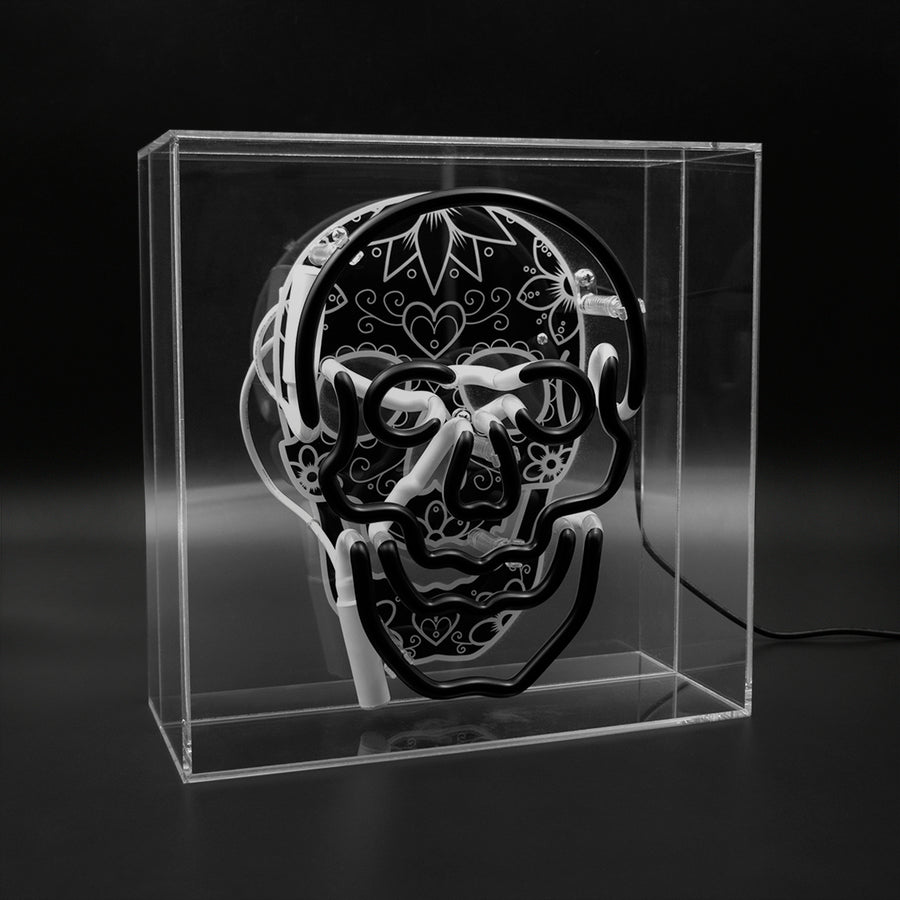 'Skull' Large Acrylic Box - Reverse Neon Light with Graphic - Locomocean