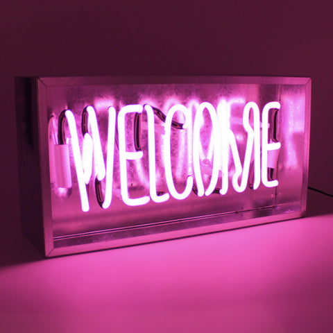 'Welcome' Metal Box Neon