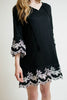 Ellie and June California Moonrise Embroidered Black Dress