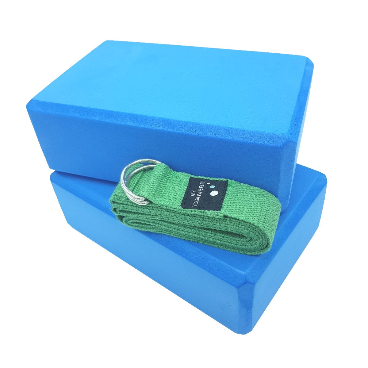 Myyogawheels Blue Yoga Blocks X2 Green Strap Set