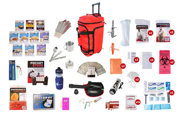 1 or 2 Person Deluxe Survival Kit + Food