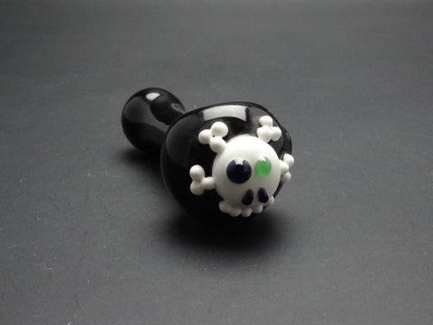 Skull Cross Bones Glass Spoon Pipe