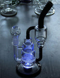 LED Lights Glass Water Pipe Percolator  Recycler