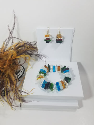 Elegant Multi Colored Glass Beads Bracelet with Matching Earrings   -   SKU# VP-29
