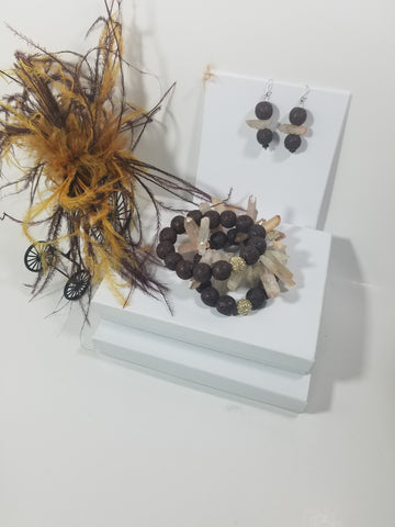 Two Stackable Centerfold Brown Lava Stone Gemstone Bracelets with a Rose Tint Crystal Quartz Spiked Bracelet with Matching Earrings -  SKU#  VP-101
