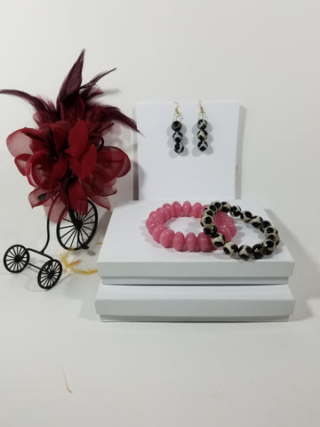 Two Stackable Sensuous & Delicate Black & White Agate Gemstone Bracelets Accented with a Soft Pink Glass Bead Bracelet and Matching Earrings - SKU# - VP-141