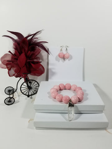 "Simple & Beautiful ""Soft Pink"" Bracelet with Matching Earrings - SKU# - VP - 168"