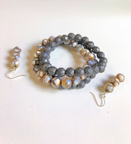 "Prim & Proper Two Stackable Charcoal Hematite Gemstone Bracelets Matched with a Multi-Color Agate Bracelet and Matching Earrings - ""Hematite is said to ground and protect us"" - SKU# VP-15"
