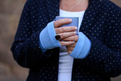 Recycled Cashmere Fingerless Gloves & Wrist Warmer by Turtle Doves - Genii Retail Therapy Ltd - 1