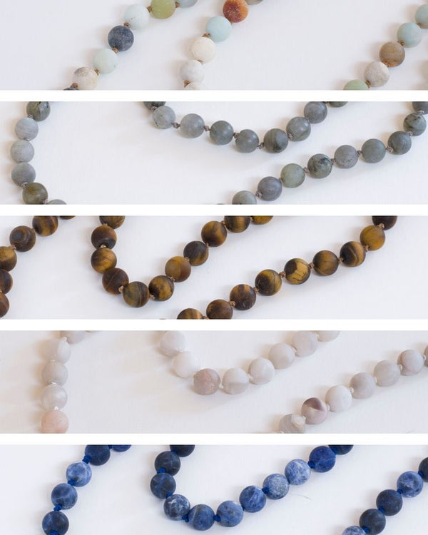 Whatknot beaded necklace in amazonite, labradorite, tiger eye, agate and sodalite