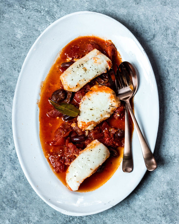 Poached Halibut in Tomato Sauce with Olives
