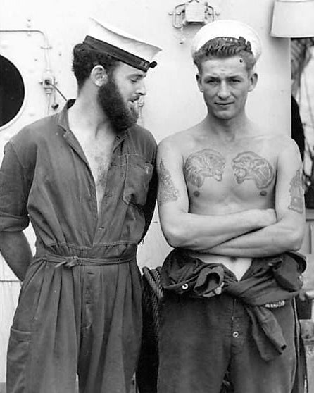 sailors on vintage ship
