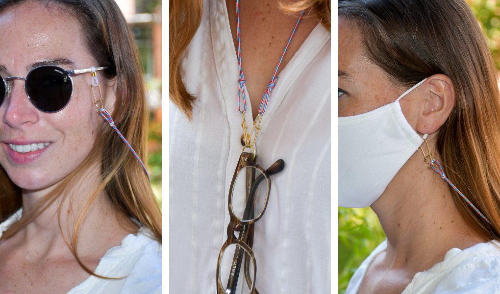 nautical rope mask strap with three uses: mask strap, sunglasses retainer, eye glass retainer
