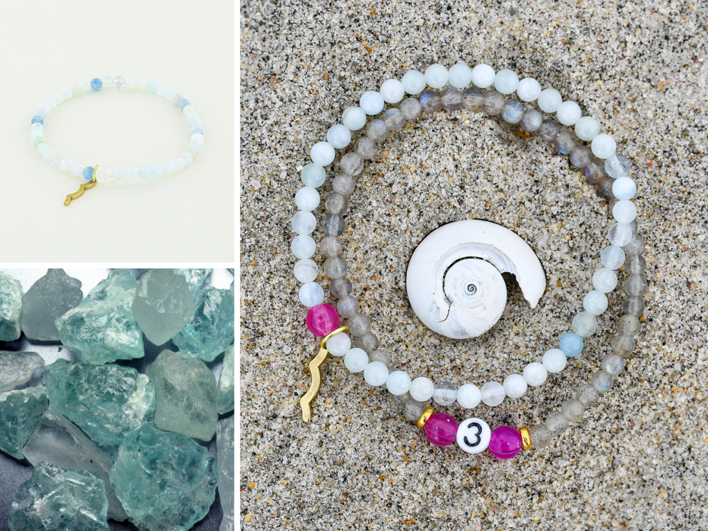 Stackable Rayminder UV Awareness bracelets for sun safety and uv protection in aquamarine