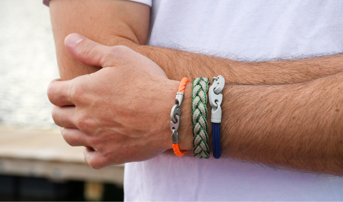 men's powder coat brummel bracelet with braided cotton bracelet and catch single rope bracelet
