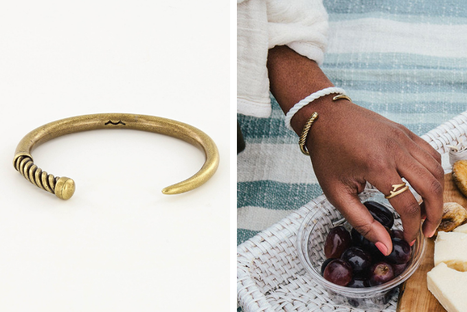 his and hers nautical bracelet set, slim fid cuff in polished brass and mens fid cuff in antique brass