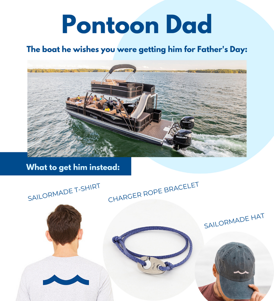 Fathers Day gifts for boaters including Sailormade t-shirt, wave hat and charger slipknot rope bracelet