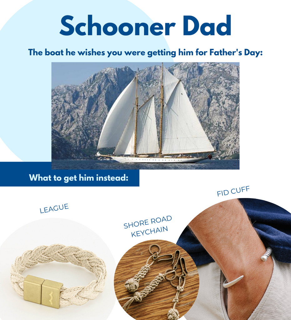 Fathers Day gifts for boaters including league magnetic braided bracelet, knot keychain, and fid cuff bracelet for men