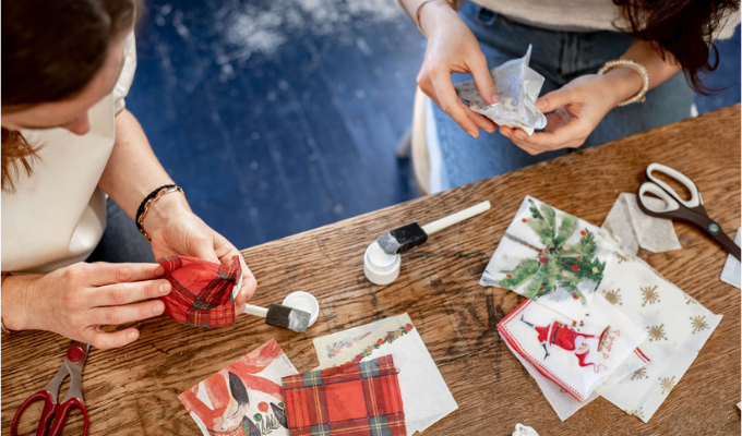 making decoupage oyster shell ornaments with the sailormade kit