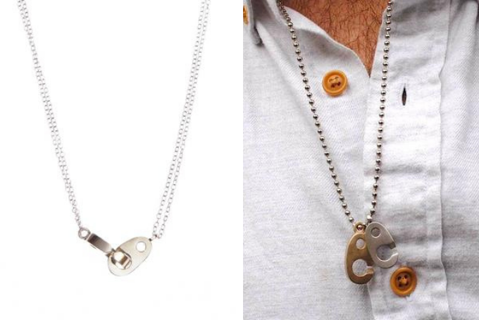 his and hers necklace set, nautical double brummel necklace in brass and sterling silver for women, men's dog tag nautical brass and stainless steel brummel necklace