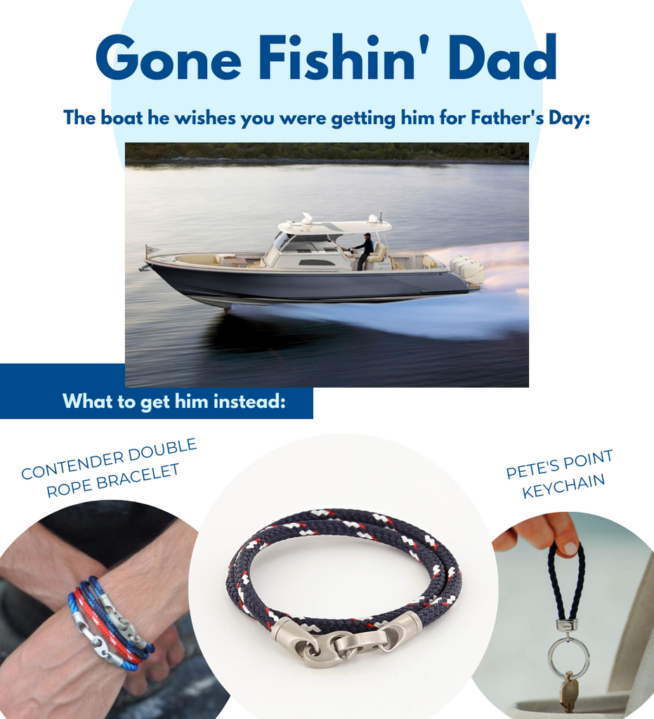 Fathers Day gifts for boaters including contender double rope wrap bracelet in navy, red, and white, and rope stainless steel keychain