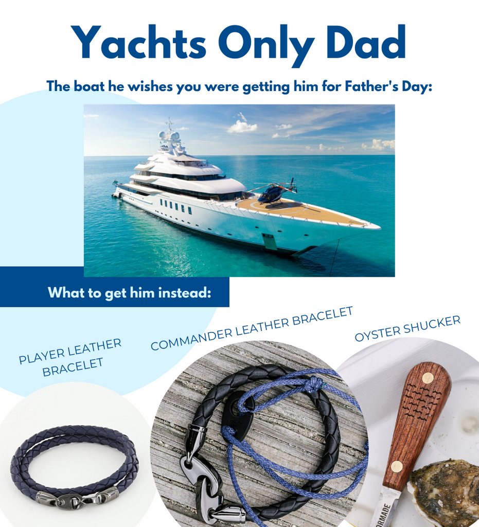 Fathers Day gifts for boaters including oyster shucker, commander leather brummel bracelet, and player double wrap leather bracelet for men.