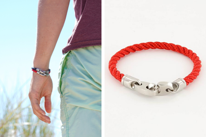 his and hers bracelet sets, catch single wrap rope bracelet for men in stainless steel and red, women's elsewhere brummel bracelet in red rope
