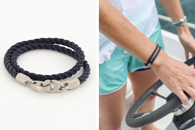 yours and mine nautical bracelet sets, elsewhere double wrap rope brummel bracelet in polished stainless steel and navy for women, catch double wrap rope brummel bracelet in matte stainless steel for men