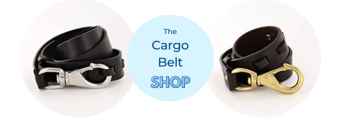 cargo leather belt with snap hook brass buckle