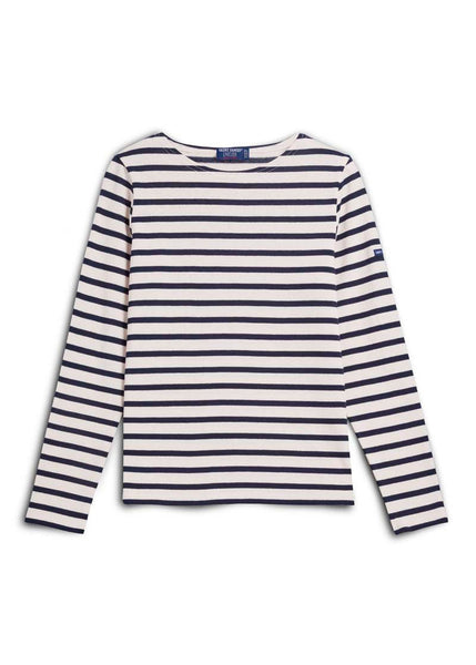 Saint James Meridame Long Sleeve Nautical Stripe Shirt Navy and White