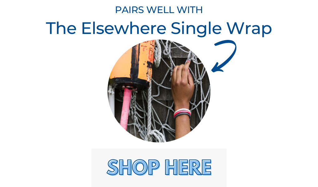 women's elsewhere single wrap rope bracelet in pink, white, charcoal