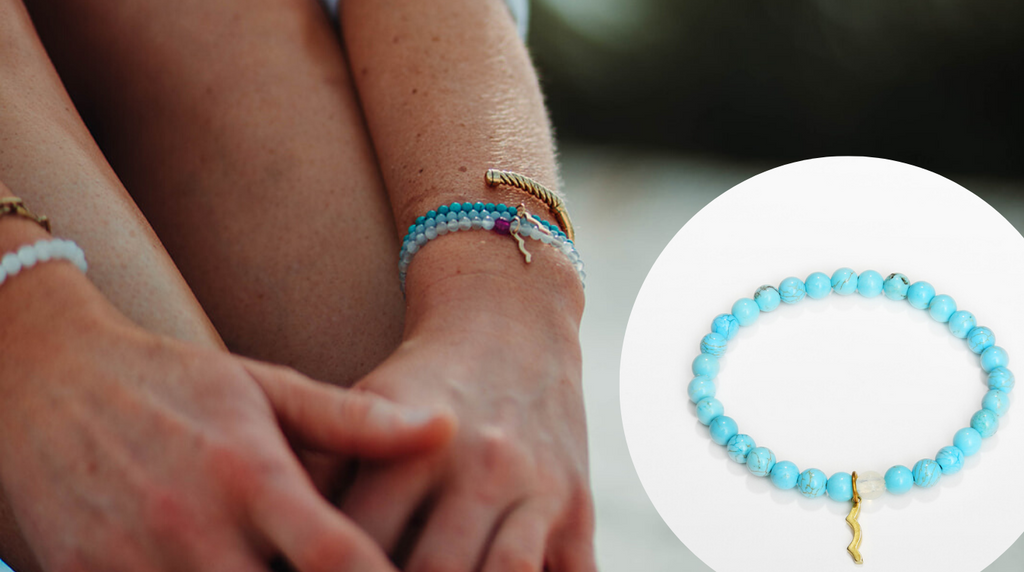 rayminder uv awareness bracelets in turquoise, moonstone and howlite