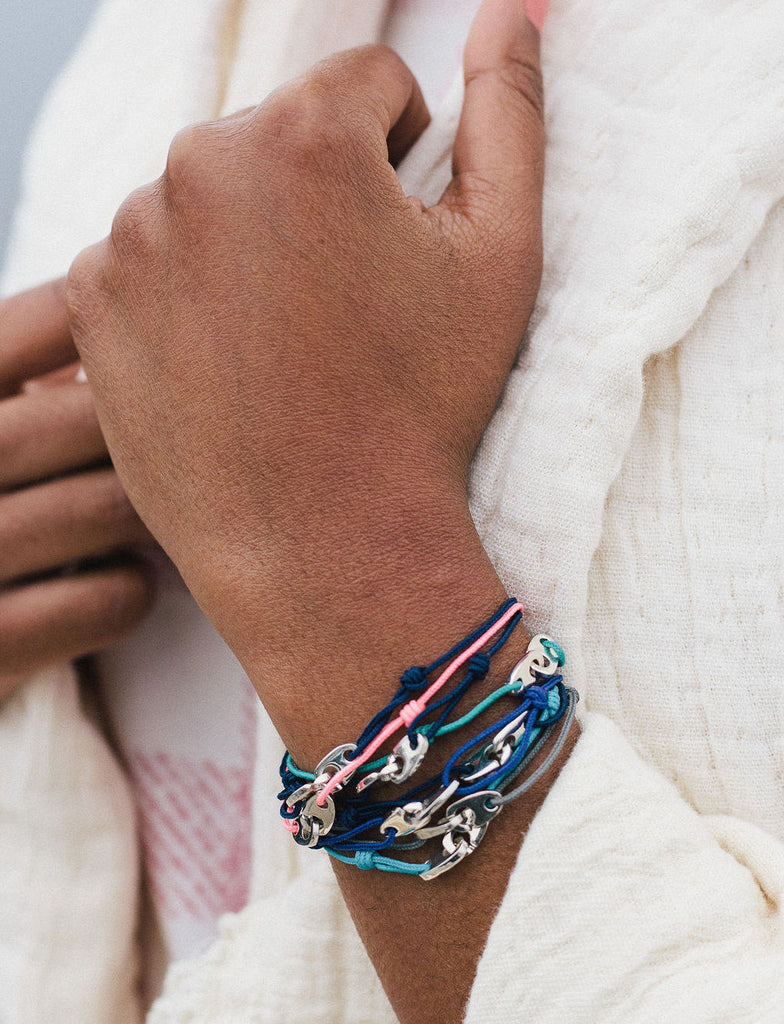 sailormade mini brummel nautical slipknot bracelet stack in sterling silver with navy, pink, turquoise, gray cord