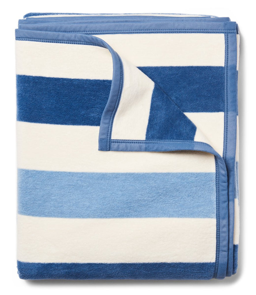 chappy wrap blanket in blue and white stripes massachusetts based woman owned business