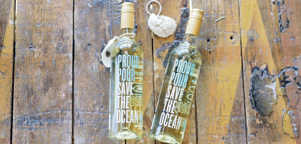 New England based, woman founded business proud pour wine sauvignon blanc to support oyster reef restoration