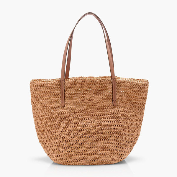 J.Crew Straw Market Tote Beach Bag Natural